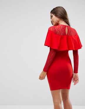 photo Ruffle Front Lace Mix Bodycon Mini Dress by ASOS, color Red - Image 2