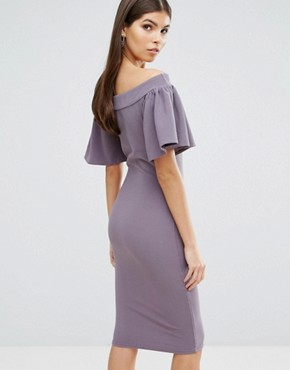 photo Midi Bardot Dress with Frill Sleeve by Oh My Love, color Grey - Image 2