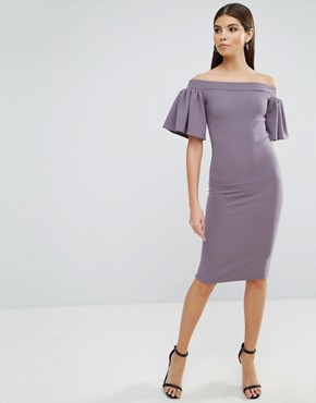 photo Midi Bardot Dress with Frill Sleeve by Oh My Love, color Grey - Image 1