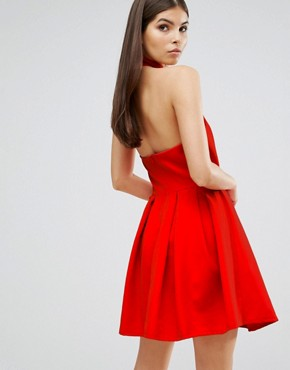photo High Neck Cross Over Skater Prom Dress by Oh My Love, color Red - Image 2