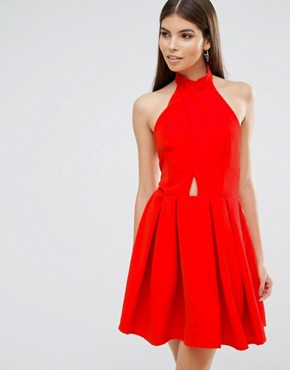 photo High Neck Cross Over Skater Prom Dress by Oh My Love, color Red - Image 1