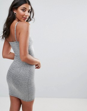 photo Square Neck Lurex Bodycon Dress by Oh My Love, color Silver - Image 2