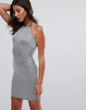 photo Square Neck Lurex Bodycon Dress by Oh My Love, color Silver - Image 1
