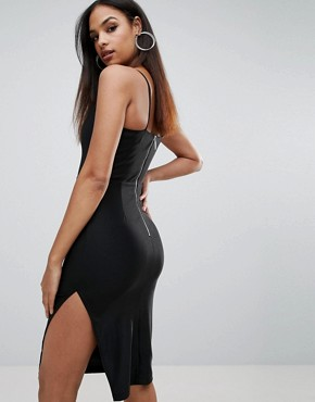 photo Plunge Strappy Bodycon Dress by Rare, color Black - Image 2