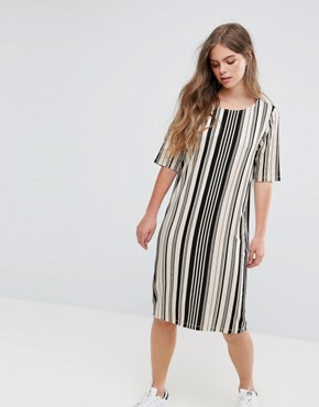 photo Damara Print Jersey Dress by Pieces, color Multi Stripe - Image 1