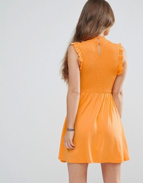 photo Mini Skater Dress with Shirring Panel by ASOS PETITE, color Orange - Image 2