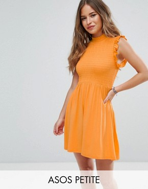 photo Mini Skater Dress with Shirring Panel by ASOS PETITE, color Orange - Image 1