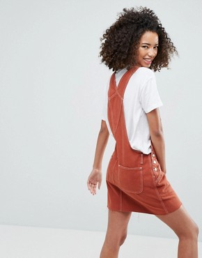 photo Denim Dungaree Dress in Rust by ASOS, color Rust - Image 2