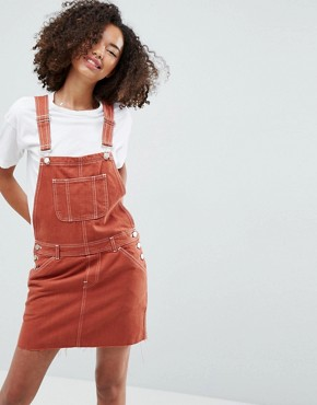 photo Denim Dungaree Dress in Rust by ASOS, color Rust - Image 1