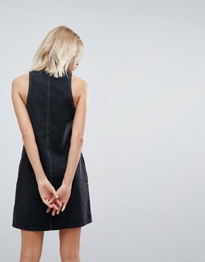 photo Denim Shift Dress in Washed Black with Circular Ring Pull by ASOS, color Washed Black - Image 2