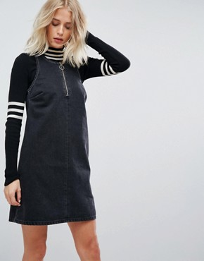 photo Denim Shift Dress in Washed Black with Circular Ring Pull by ASOS, color Washed Black - Image 1