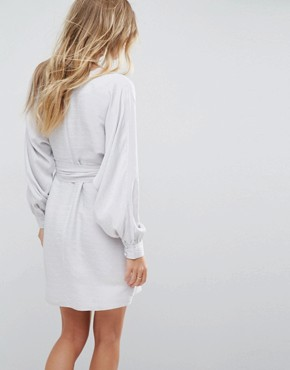 photo Jacquard Belted Mini Dress by ASOS, color Silver - Image 2