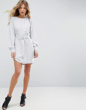photo Jacquard Belted Mini Dress by ASOS, color Silver - Image 4
