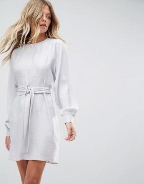 photo Jacquard Belted Mini Dress by ASOS, color Silver - Image 1