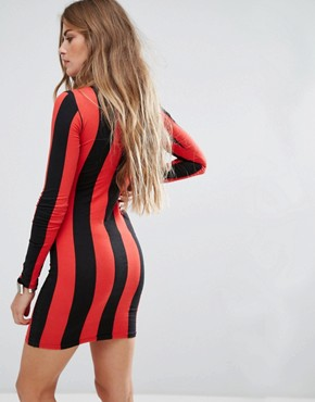 photo Bodycon Dress with Long Sleeve in Stripe by Motel, color Red - Image 2