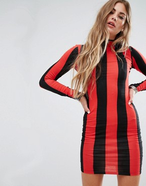 photo Bodycon Dress with Long Sleeve in Stripe by Motel, color Red - Image 1