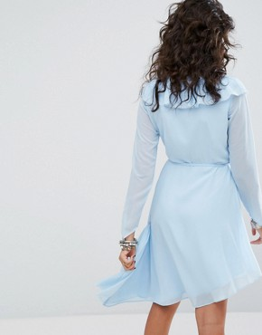 photo Long Sleeve Wrap Front Mini Dress with Frills by Sacred Hawk, color Powder Blue - Image 2