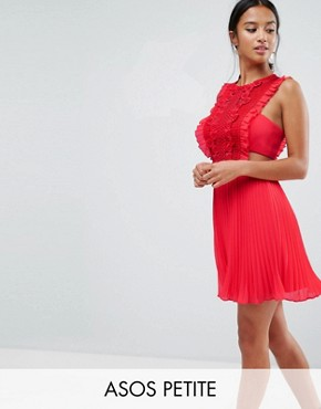 photo Lace Pinafore Pleated Mini Dress by ASOS PETITE, color Red - Image 1