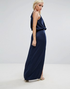 photo Drape Front Strappy Back Maxi Dress by ASOS PETITE, color Navy - Image 2