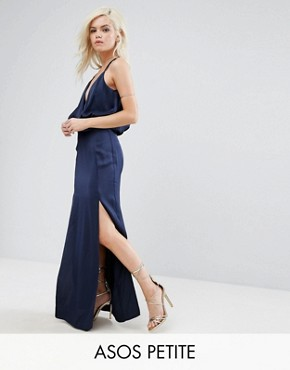 photo Drape Front Strappy Back Maxi Dress by ASOS PETITE, color Navy - Image 1