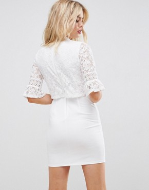 photo Lace Crop Top Mini Dress with Trim by ASOS, color White - Image 2