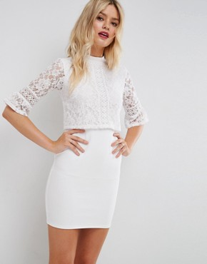 photo Lace Crop Top Mini Dress with Trim by ASOS, color White - Image 1