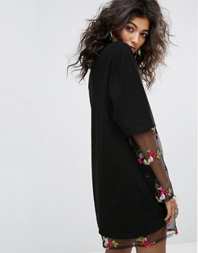 photo Oversized T-Shirt Dress with Floral Embroidered Mesh Underlayer by Sacred Hawk, color Black - Image 2