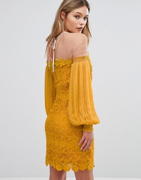 photo Bardot Lace Mini Dress with Bell Sleeves by Three Floor, color Yellow - Image 2