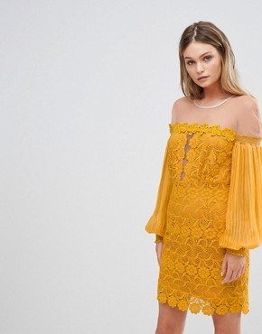 photo Bardot Lace Mini Dress with Bell Sleeves by Three Floor, color Yellow - Image 1