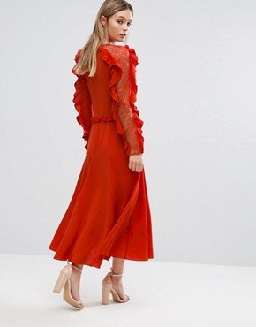 photo Long Sleeved Midi Dress with Frill Detail by Three Floor, color Red - Image 2