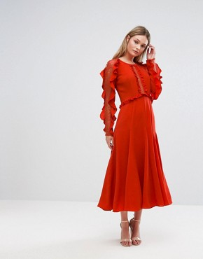 photo Long Sleeved Midi Dress with Frill Detail by Three Floor, color Red - Image 1