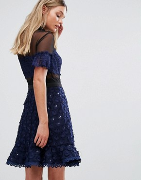 photo Mini Skater Dress with Collar by Three Floor, color Navy - Image 2