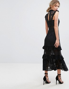photo Tiered Lace Midi Dress by Three Floor, color Black - Image 2