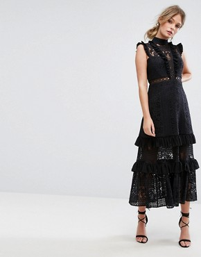 photo Tiered Lace Midi Dress by Three Floor, color Black - Image 1