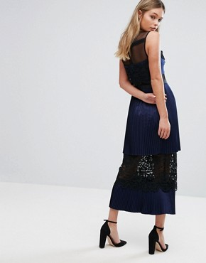 photo Double Tiered Midi Dress with Lace Inserts by Three Floor, color Navy - Image 2