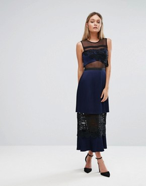 photo Double Tiered Midi Dress with Lace Inserts by Three Floor, color Navy - Image 1