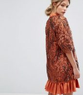 photo Embroidered Shift Dress with Kimono Sleeve by Three Floor, color Rust - Image 2