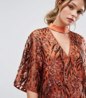 photo Embroidered Shift Dress with Kimono Sleeve by Three Floor, color Rust - Image 3