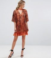 photo Embroidered Shift Dress with Kimono Sleeve by Three Floor, color Rust - Image 4