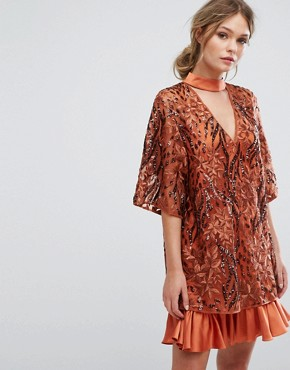 photo Embroidered Shift Dress with Kimono Sleeve by Three Floor, color Rust - Image 1
