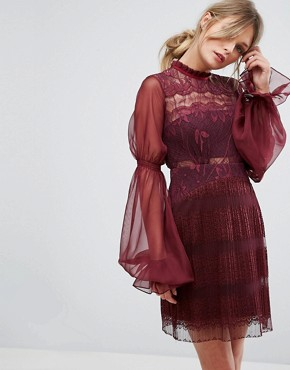 photo Lace Mini Dress with Blouson Sleeves by Three Floor, color Berry - Image 1