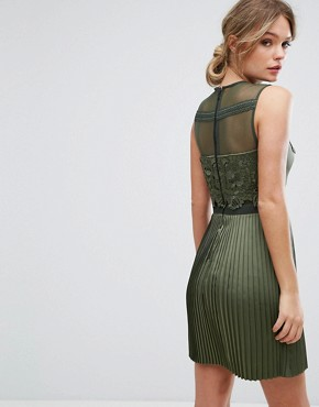 photo Mini Dress with Pleated Satin Skirt by Three Floor, color Green - Image 2