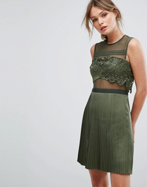photo Mini Dress with Pleated Satin Skirt by Three Floor, color Green - Image 1