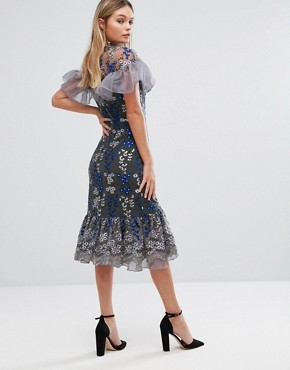 photo Embroidered Midi Dress with Ruffle Detail by Three Floor, color Navy - Image 2