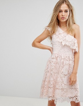 photo Lace One Shoulder Dress by Vero Moda, color Angel Wing - Image 1