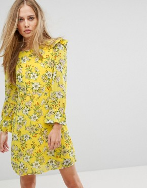 photo Floral Shift Dress by Vero Moda, color Yellow Print - Image 1
