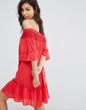 photo Off Shoulder Tiered Dress by Vero Moda, color Red - Image 2