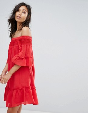 photo Off Shoulder Tiered Dress by Vero Moda, color Red - Image 1