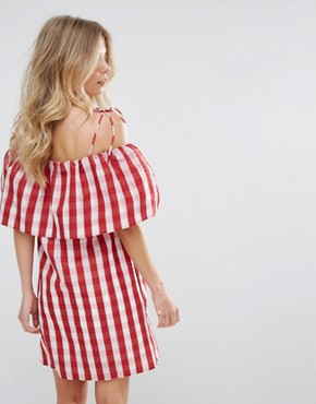 photo Gingham Bardot Smock Dress by Mango, color Red Gingham - Image 2