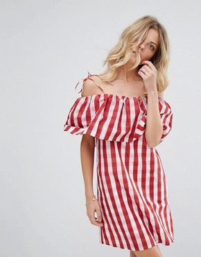 photo Gingham Bardot Smock Dress by Mango, color Red Gingham - Image 1